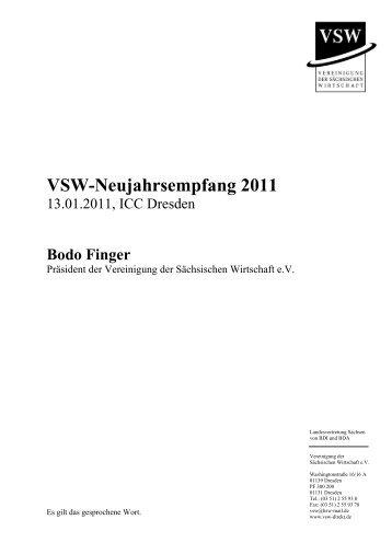 Rede des VSW-Präsidenten Bodo Finger (PDF) - VSW | Vereinigung ...