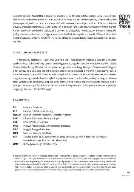 A bolognai folyamat célkitűzéseinek magyarországi megvalósítása