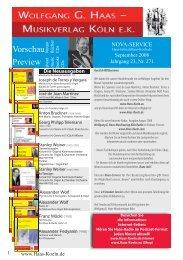 Vorschau Vorschau - Wolfgang G. Haas. - Musikverlag Köln eK
