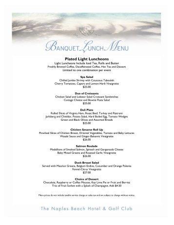 Banquet Menu - Lunch Menus - Naples Beach Hotel & Golf Club
