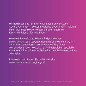 Wir bedanken uns für Ihren Kauf eines Sony Ericsson C905 Cyber ...