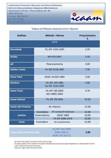 Tabela de preços - icaam - Universidade de Évora