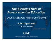 The Strategic Role of Advancement in Education - 2006 Asia ... - CASE