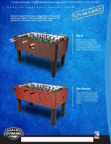 Big D Foosball Table Brochure - BMI Gaming