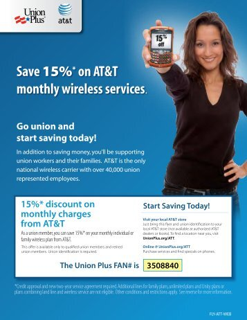 AT&T 15% discount flyer - Union Plus