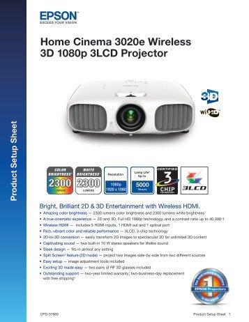 Home Cinema 3020e Wireless 3D 1080p 3LCD ... - Audio General Inc.