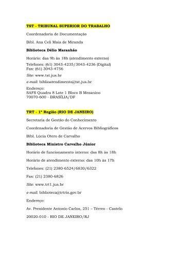 TST - TRIBUNAL SUPERIOR DO TRABALHO - Tribunal Regional ...