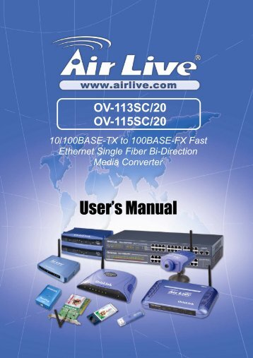 AirLive OV-113SC/20, OV-115SC/20 User's Manual - kamery airlive ...