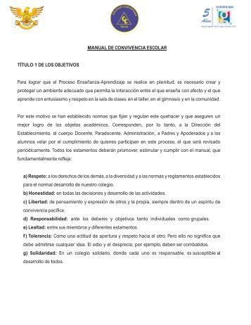 MANUAL DE CONVIVENCIA ESCOLAR TÍTULO 1 DE LOS ...