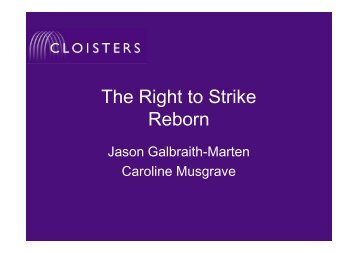 The Right to Strike Reborn - Cloisters