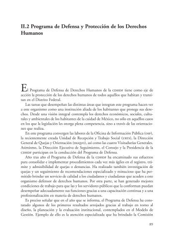 II.2 Programa de Defensa y Protección de los Derechos Humanos