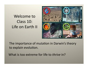 Welcome to Class 10: Life on Earth II - Physics