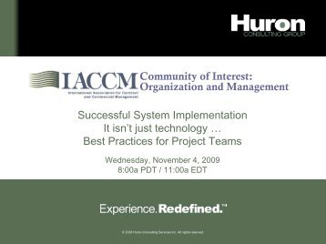 Change Management - Huron Consulting Group