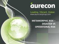 METAMORPHIC RISK – DISASTER VS OPERATIONAL RISK