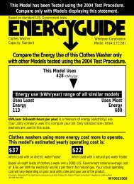 Compare the Energy Use of this Clothes Washer only with ... - Estate