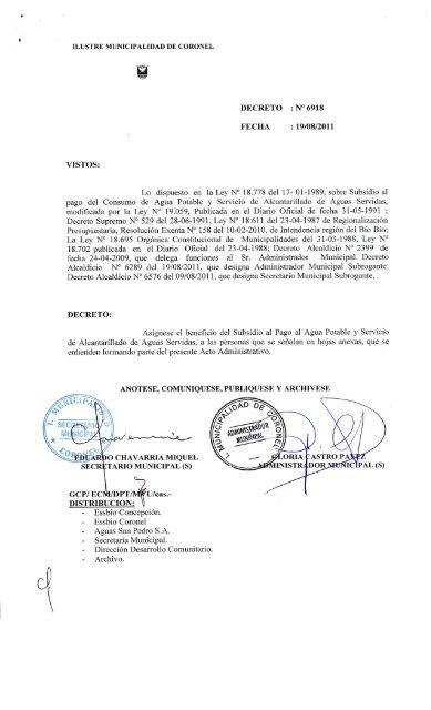 Coronel Decreto Decreto Municipalidad Municipalidad Ilustre De De Decreto Coronel Ilustre sdhtQrC