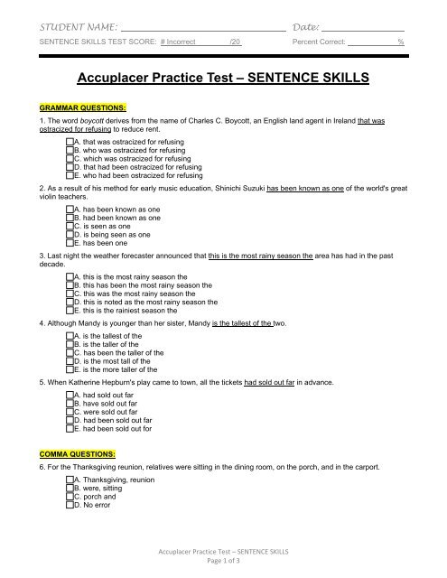 Where To Take Accuplacer Test