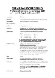 Sommercup 2011 vom 18. August bis 21 ... - Pro Tennis Hamburg