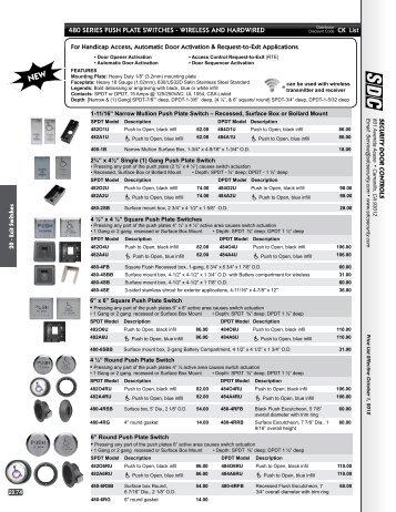 Pricesheet - SDC Security Door Controls