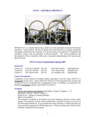Course Information - Boston University Physics Department.