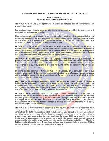 código de procedimientos penales para el estado de tabasco