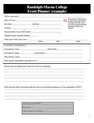 Randolph-Macon College Event Planner (example)
