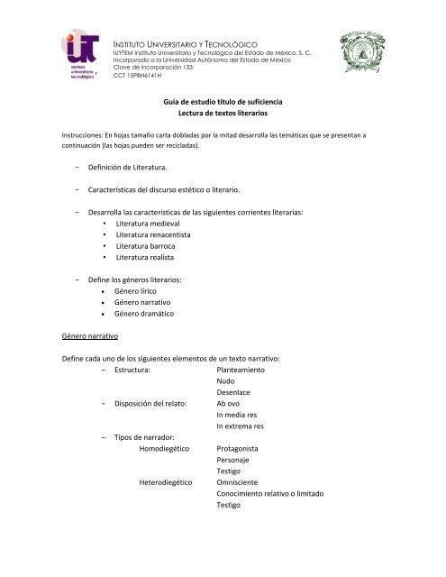 Lectura De Textos Literarios Instituto Universitario Y