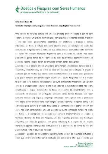 Estudo de Caso 11 Conduta imprópria em pesquisa - Estudos ... - Anis