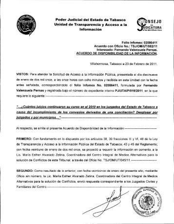 Poder Judicial del Estado de Tabasco Unidad de Transparencia y ...
