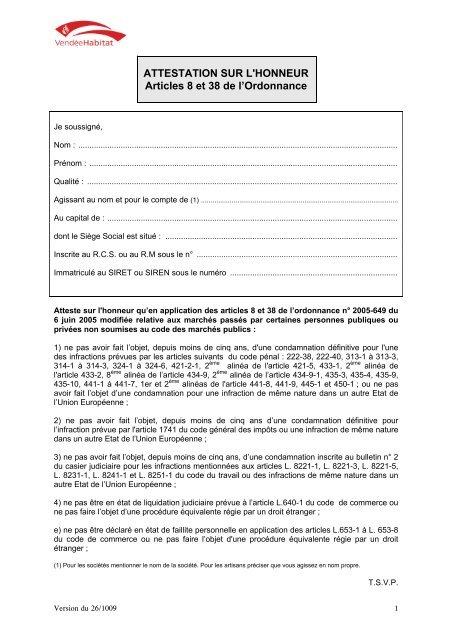 Attestation Sur L Honneur Articles 8 Et 38 De L Ordonnance