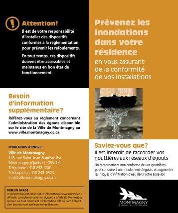 Prévenez les inondations dans votre résidence - Ville de Montmagny