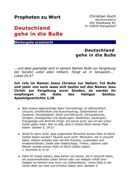 Deutschland Gehe In Die Buße Kochministry Germany