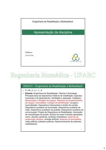 Apresentação da disciplina - Engenharia Biomédica
