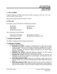 January 22, 2013, Regular Meeting Minutes - City of Palmer, Alaska