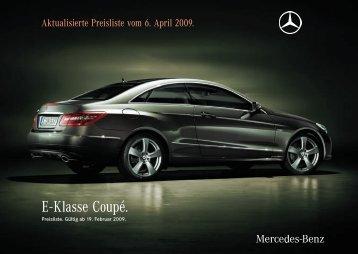 E - Klasse Coupé. - Preislisten