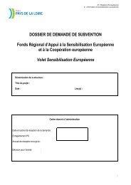 Dossier de demande de subvention sensibilisation européenne