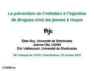 La prévention de l'initiation à l'injection de drogues chez les jeunes ...