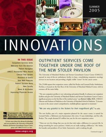 Innovations - University of Maryland Greenebaum Cancer Center