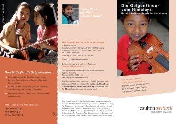 Flyer Geigenkinder - Jesuitenmission