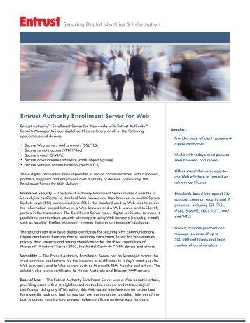 Entrust Authority Enrollment Server for Web