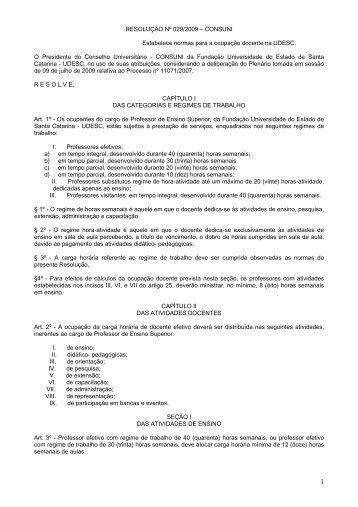 RESOLUÇÃO Nº 029/2009 – CONSUNI ... - WWW2 - Udesc