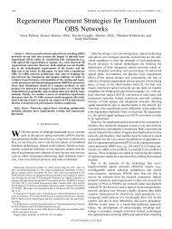Regenerator Placement Strategies for Translucent ... - IEEE Xplore
