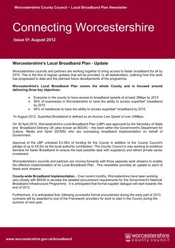 Local Broadband Plan Newsletter - Worcestershire County Council