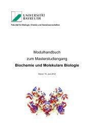 Modulhandbuch zum Bachelor-Studiengang in Biowissenschaften