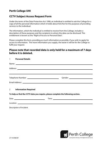 Cctv Subject Access Request Form  Perth College