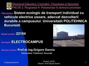 Sistem ecologic de transport individual cu vehicule electrice usoare ...