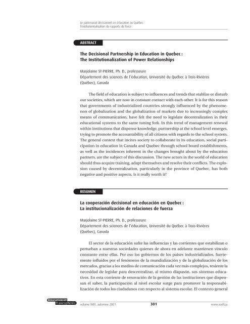 Le partenariat décisionnel en éducation au Québec - acelf