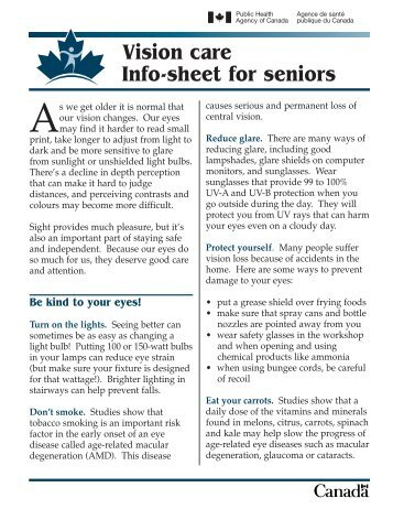Vision care - Info-sheet for seniors - Live Well Age Well
