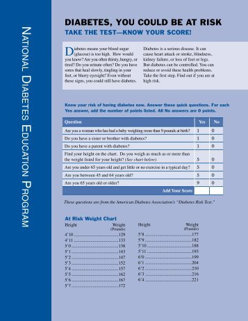 download the CDC Diabetes Risk Test PDF - Alaska Department of ...