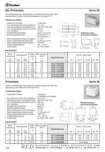 5A 250V AC 110V AC 2 Wechsler Finder Printrelais 40.52.8.110